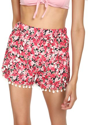 Beach Bum Red FLORAL Casual Shorts