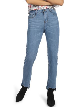 CUTTING OFF THE EXTRAS BLUE STRAIGHT JEANS
