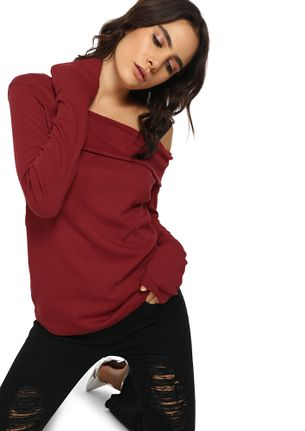 ONLY ON ONE SIDE MAROON RIBBED TOP