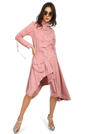 SEE ME IN SUEDE DUSTY PINK ASYMMETRICAL DRESS