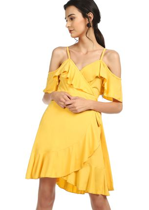 THRILL IN EVERY TWIRL YELLOW SKATER DRESS