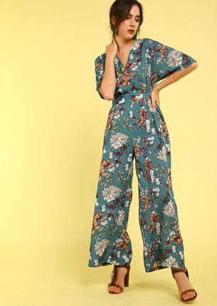 Hello Spring FLORAL TEAL Jumpsuit