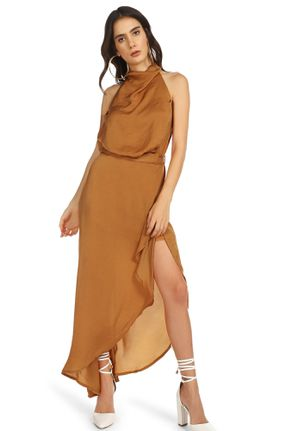 Eternal Love Brown ASYMMETRICAL Maxi Dress