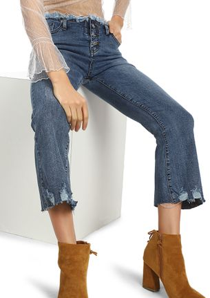 FRAYED WELL BLUE CROPPED JEANS