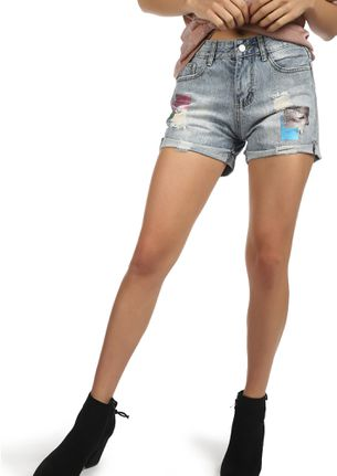 A DASH OF SHIMMER LIGHT BLUE DENIM SHORTS