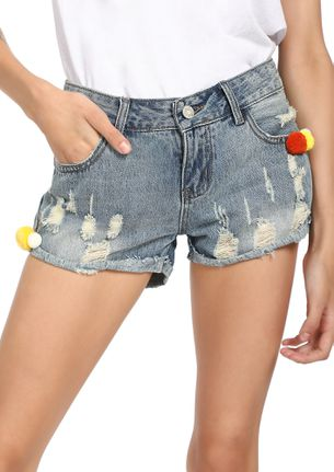 COLORED MY POM-POMS LIGHT BLUE DENIM SHORTS