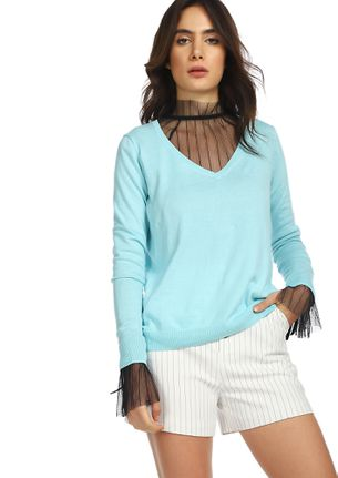 CAN YOU RIB-PEAT BLUE RIBBED T-SHIRT