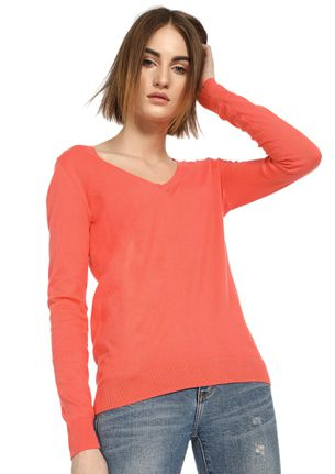 CAN YOU RIB-PEAT CORAL RED RIBBED T-SHIRT