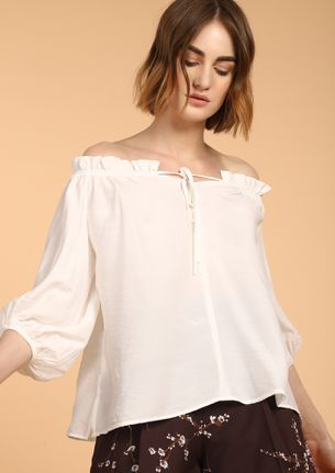 SUNSHINE IN MY LIFE IVORY OFF-SHOULDER TOP