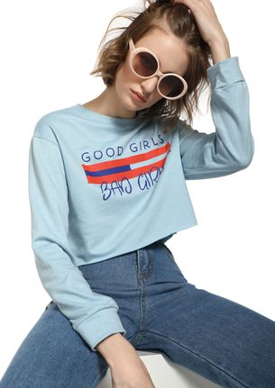 LINES BETWEEN GOOD AND BAD BLUE CROP TOP
