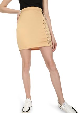 ALL TIED UP BEIGE PENCIL SKIRT