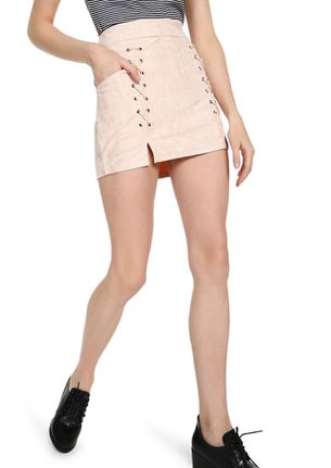EYES ON EYELETS DUSTY PINK MINI SKIRT