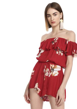 HIBISCUS FRAME OF MIND RED ROMPER