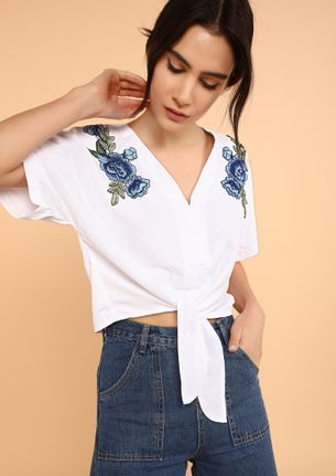 LET'S BE KNOTTY WHITE CROP TOP
