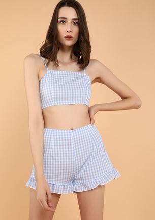 DEETFUL GINGHAM BLUE TWO PIECE SET