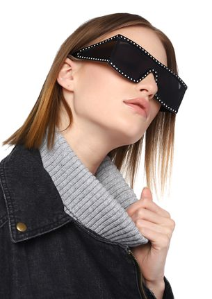 BEHIND A SHIELD BLACK SQUARE SUNGLASSES