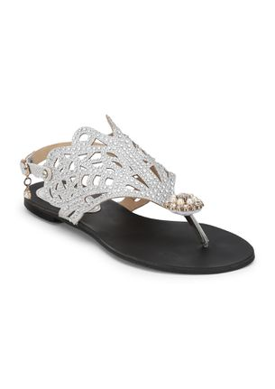THE SURREAL EFFECTS SILVER FLAT SANDALS