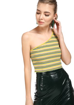 TALKING IN STRIPES YELLOW CROPPED VEST