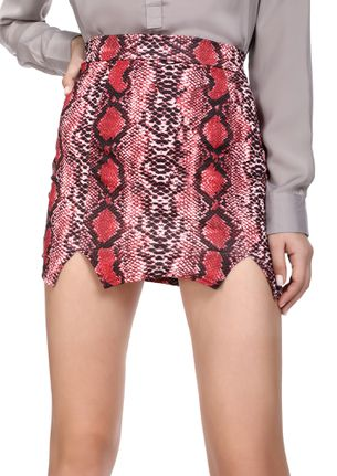 COLD-HEART SNAKE HERE MAROON MINI SKIRT