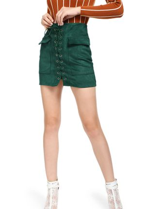 CAUGHT YOU IN LACE-UPS GREEN A-LINE SKIRT