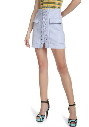 CAUGHT YOU IN LACE-UPS SKY BLUE A-LINE SKIRT