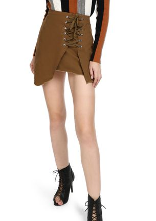 GOING LACES ABOUT YOU BROWN MINI SKIRT