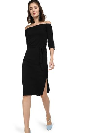 CONSIDER THE MIDPOINT BLACK OFF-SHOULDER DRESS