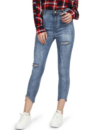 ALL TOUGHENED UP BLUE CROPPED RIPPED JEANS