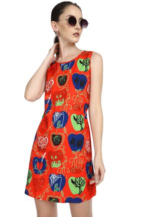 SPOOKY BEHAVIOUR RED SHIFT DRESS