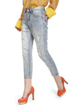 COOL GIRL'S BASIC BLUE RIPPED JEANS