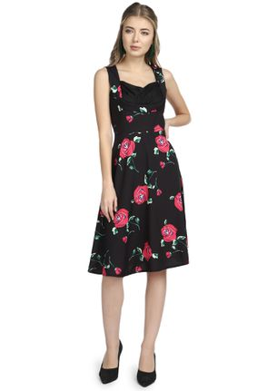 ROOTING FOR YOU FLORAL RED MIDI DRESS
