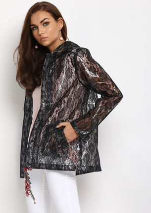 CAN YOU SEE ME TRANSPARENT BLACK FLORAL JACKET