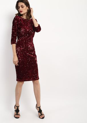 YOUR SEQUIN IS SAFE WITH US WINE DRESS
