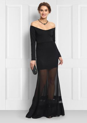 BLACK OFF-SHOULDER MESH GOWN