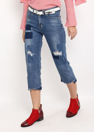 Frayed Hem Jeans with Patch detail