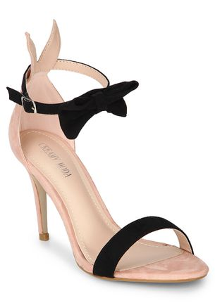 Tie That Bow Pink Heeled Sandals