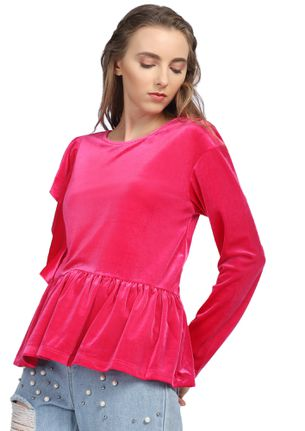 A Lil Thrill Of Frill Rose Red Top