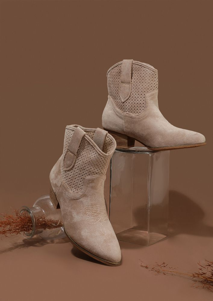 GETTING STARTED BEIGE ANKLE BOOTS