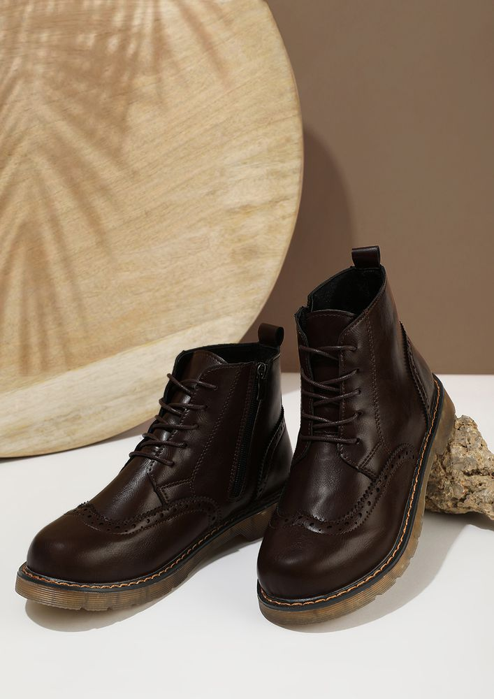 PLACES TO GO BROWN BROGUE BOOTS