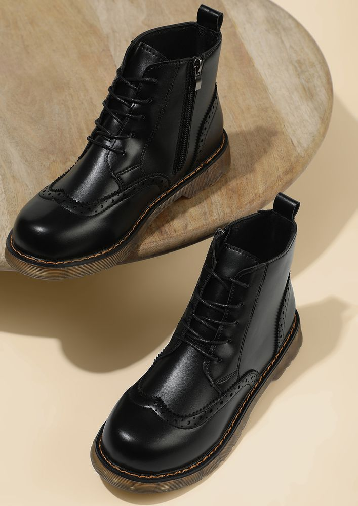 PLACES TO GO BLACK BROGUE BOOTS