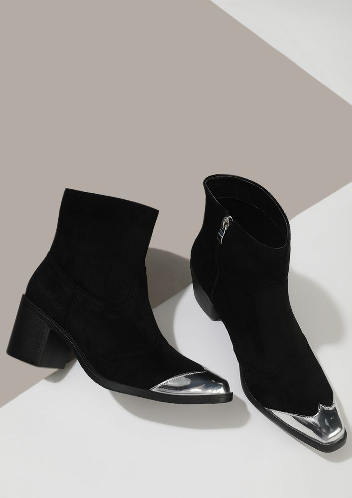 SHINE BY ME BLACK ANKLE BOOTS