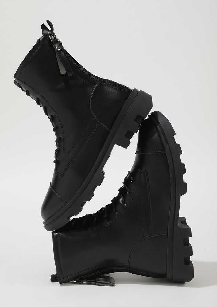 THE CURRENT FAD BLACK COMBAT BOOTS