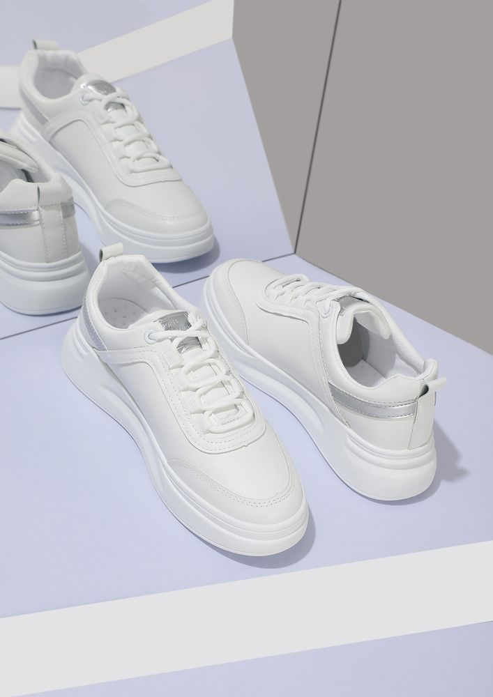 WEAR YOUR CONFIDENCE SILVER PANELS WHITE SNEAKERS