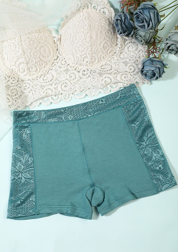 PEACOCK BLUE BOYSHORTS WITH LACE TRIMMING
