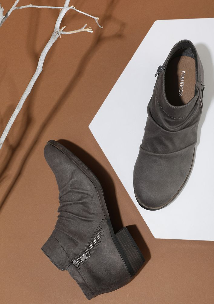 POWER BRINGER GREY ANKLE BOOTS