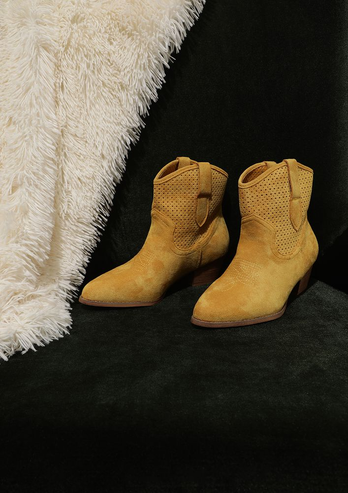 GETTING STARTED YELLOW ANKLE BOOTS