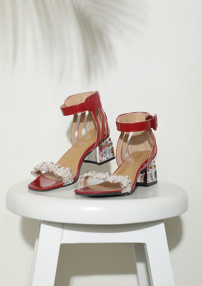 GOT SOME LUCKY GEMS RED HEELED SANDALS