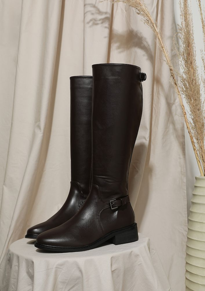 STEPPING INTO REALITY BROWN CALF-LENGTH BOOTS