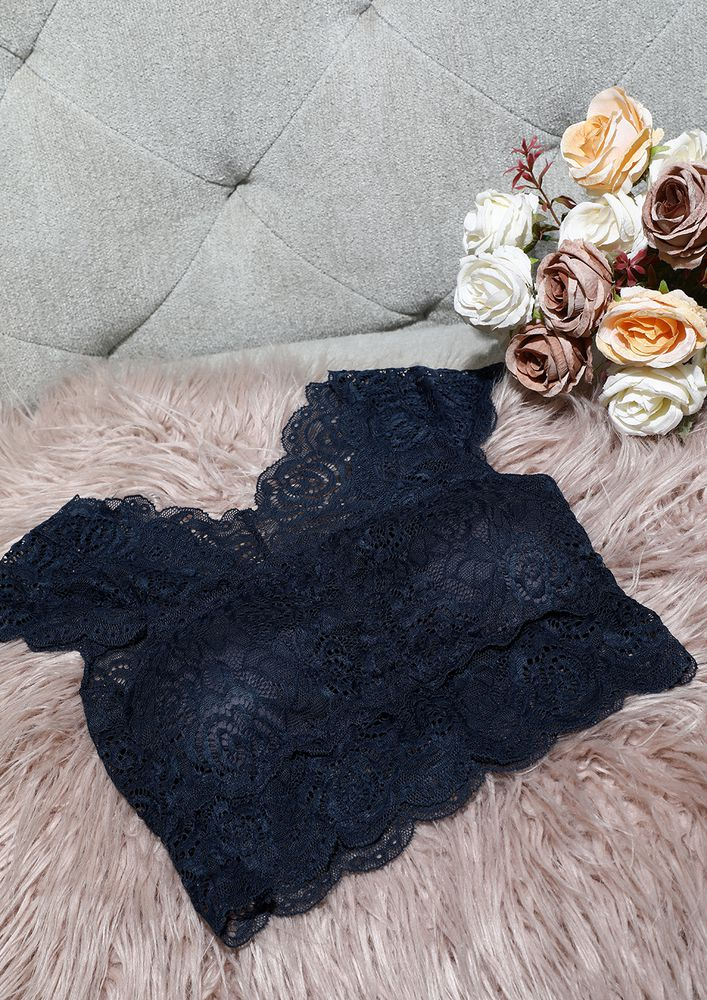NAVY BLUE FULL COVERAGE LACE BRALETTE