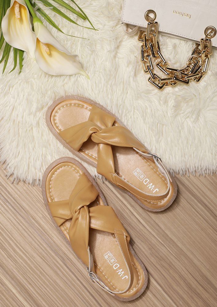 TWIST FOR THE WIN MUSTARD FLAT SANDALS